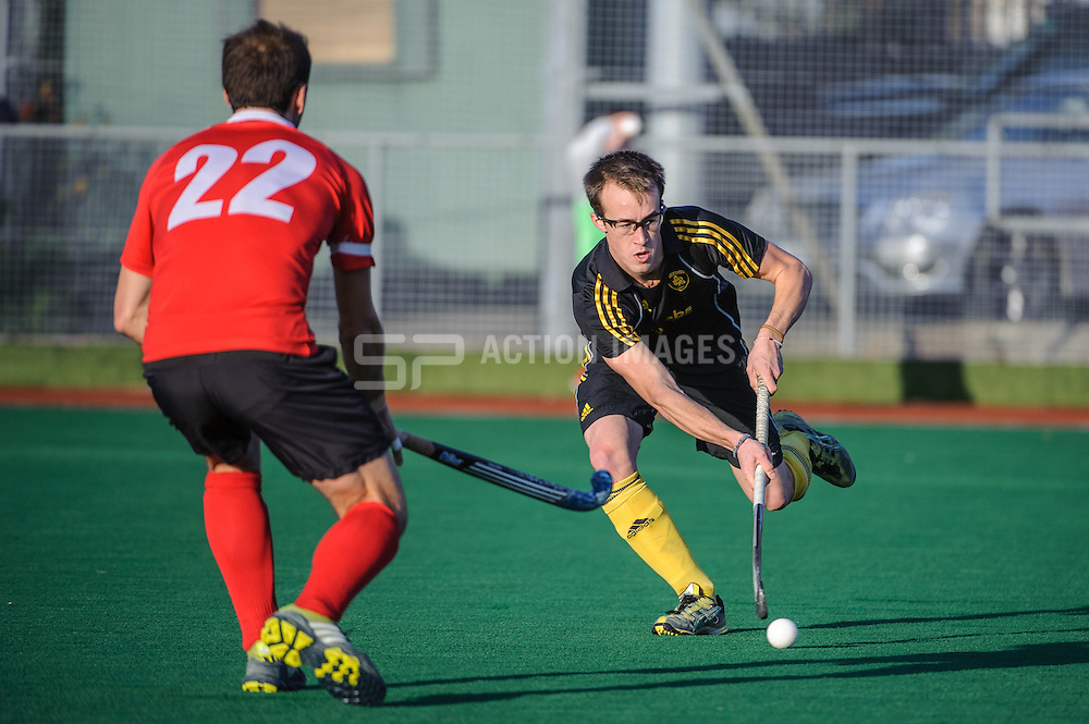 Dan Webster of Beeston during their match aganst Holcombe in the England Hockey Men's Cup