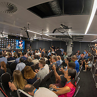 Caroline Wozniacki of Denmark during her press conference after winning the women's singles championship match during the 2018 Australian Open on day 13 in Melbourne, Australia on Saturday afternoon January 27, 2018.<br /> (Ben Solomon/Tennis Australia)