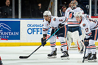 KELOWNA, BC - MARCH 09:  Montana Onyebuchi #5 and Brodi Stuart #17 of the Kamloops Blazers line up against the Kelowna Rockets at Prospera Place on March 9, 2019 in Kelowna, Canada. (Photo by Marissa Baecker/Getty Images)