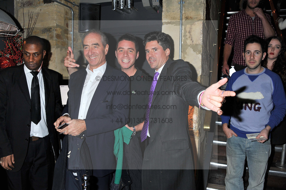Left to right, ANDREW LANGTON director of Aylesford International, HARRY LANGTON and EDWARD TAYLOR at a party at the nightclub Public, King's Road, London to celebrate the launch of Public Verbier held on 17th November 2011.