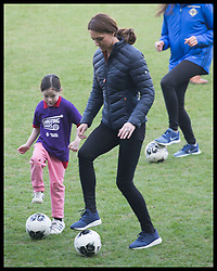 February 27, 2019 - Belfast, United Kingdom - Image licensed to i-Images Picture Agency. 27/02/2019. Belfast , United Kingdom. The Duchess of Cambridge playing ball games  with children at  the Irish Football Association at  Windsor Park in Belfast, Northern Ireland. (Credit Image: © Stephen Lock/i-Images via ZUMA Press)