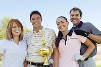Friends Gathered Around Champion Golfer