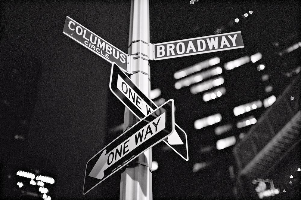 One Way, Broadway, Columbus Circle signs, Columbus Circle, New York