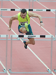 06.02.2015, Linz, AUT, Tipsarena der Stadt Linz, Gugl Indoor, Leichtathletic Meeting, im Bild Balazs Baji (HUN) 60m Hürdenlauf // at the picture Balazs Baji (HUN) 60m hurdles during Gugl Indoor, Linz, Austria on 2015/02/06. EXPA Pictures © 2015, PhotoCredit: EXPA/ Reinhard Eisenbauer