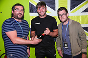Match sponsors Fat Toni's Pizza present Forest Green Rovers goalkeeper James Montgomery with his man of the match award during the Pre-Season Friendly match between Forest Green Rovers and Leeds United at the New Lawn, Forest Green, United Kingdom on 17 July 2018. Picture by Shane Healey.
