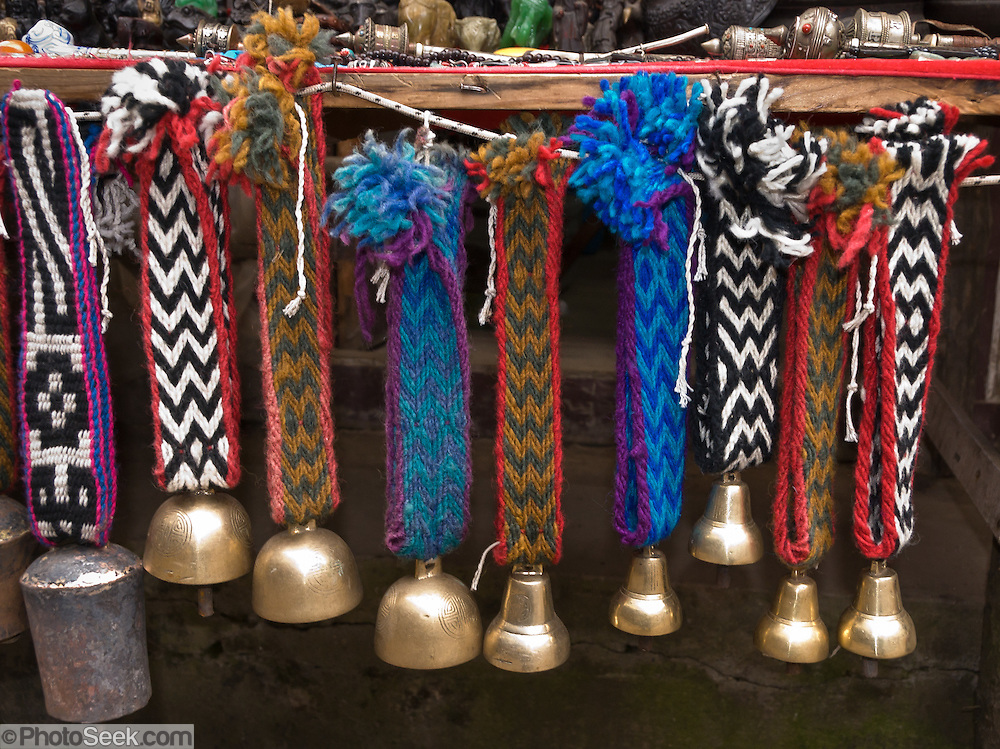 Yak bells for sale at Namche Bazaar, in Sagarmatha National Park, Nepal. Sagarmatha National Park (created 1976) was honored as a UNESCO World Heritage Site in 1979.