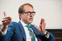 11 JUN 2015, BERLIN/GERMANY:<br /> Alexander Dobrindt, CSU, Bundesverkehrsminister, waehrend einem Interview, in seinem Buero, Bundesministerium fuer Verkehr und digitale Infrastruktur<br /> IMAGE: 20150611-01-038<br /> KEYWORDS: Büro