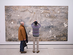 Visitors looking at work The Argonauts by Anselm Kiefer at Stadel museum in Frankfurt Germany