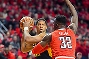 LUBBOCK, TX - JANUARY 13: Sagaba Konate #50 of the West Virginia Mountaineers handles the ball against Norense Odiase #32 of the Texas Tech Red Raiders during the game on January 13, 2018 at United Supermarket Arena in Lubbock, Texas. Texas Tech defeated West Virginia 72-71. (Photo by John Weast/Getty Images) *** Local Caption *** Sagaba Konate;Norense Odiase