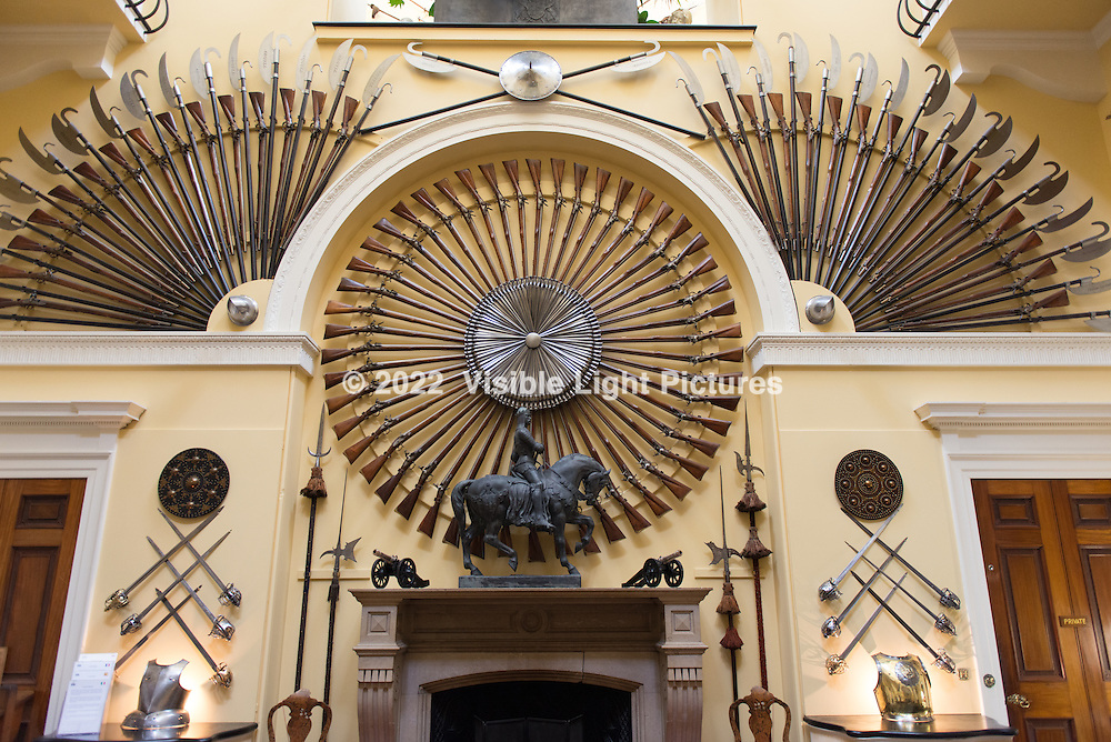 An impressive array Firepower and other weapons on display inside the castle.  This space was used as a backdrop for season three episodes of Downton Abbey.