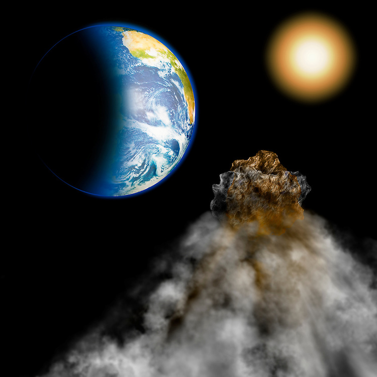 Photo illustration of an asteroid on an intercept course for Earth.