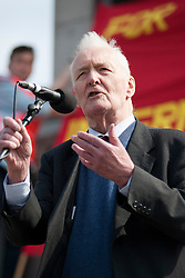 © licensed to London News Pictures. London , UK  01/05/11. Labour politician Tony Benn waits addresses several thousand people taking part in a Mayday demonstration in central London. Please see special instructions for usage rates. Photo credit should read Matt Cetti-Roberts/LNP