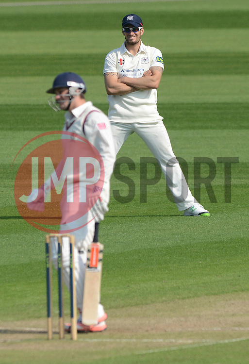 Gloucestershire's Benny Howell looks on as a Cardiff MCCU batter is out - Photo mandatory by-line: Dougie Allward/JMP - Mobile: 07966 386802 - 09/04/2015 - SPORT - Cricket - Bristol - County Cricket Ground - Gloucestershire County Cricket Club v Cardiff MCCU - Marylebone Cricket Club University Matches