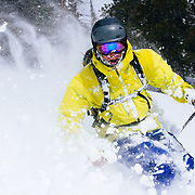 Forrest Jillson finds brief sunshine during a mega powder storm at JHMR.