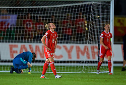 NEWPORT, WALES - Friday, August 31, 2018: Wales' Kylie Nolan looks dejected after England's Toni Duggan scored the first goal during the FIFA Women's World Cup 2019 Qualifying Round Group 1 match between Wales and England at Rodney Parade. (Pic by David Rawcliffe/Propaganda)