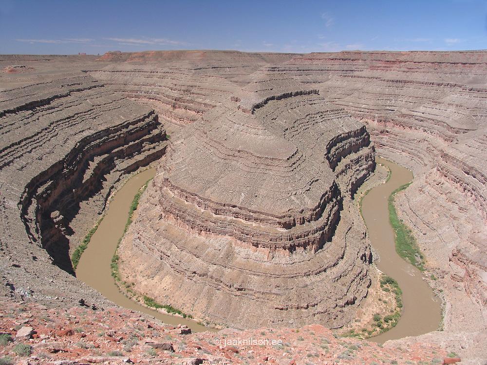 Winding San Juan River in Goosenecks State Park, Utah, USA. Formations, Geology and Erosion.