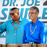 090214  Adron Gardner<br /> <br /> Vice president candidate Dineh Benally, left, waves as he and running mate Joe Shirley kick off their Navajo Nation presidential campaign in Window Rock Tuesday.