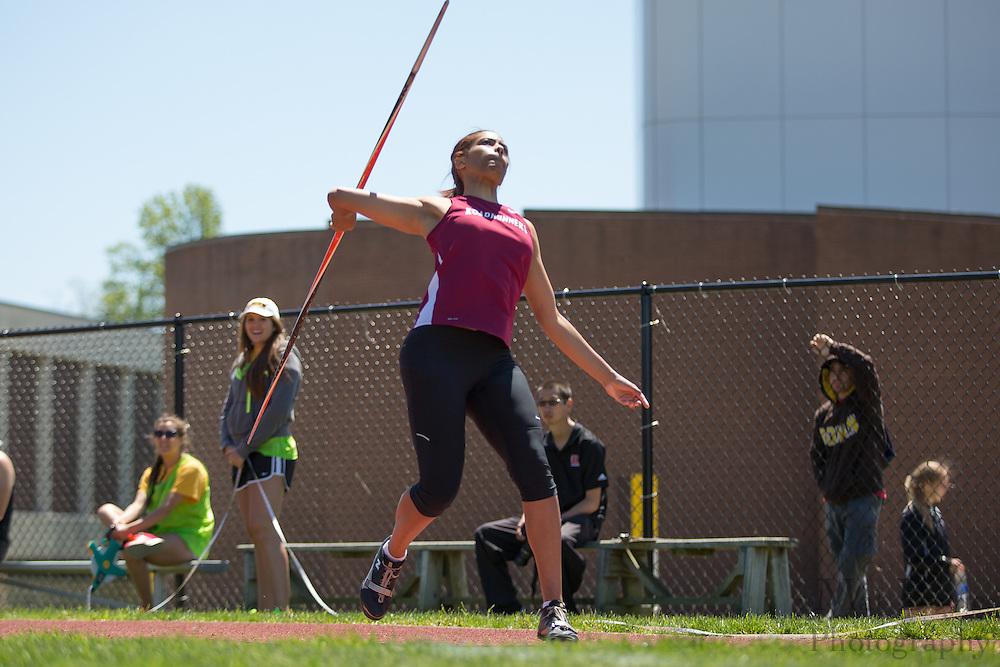 Ramapo College's Stephanie Encarnacion competes in the women's javelin  at the NJAC Track and Field Championships at Richard Wacker Stadium on the campus of  Rowan University  in Glassboro, NJ on Sunday May 5, 2013. (photo / Mat Boyle)