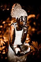 Zimsculpt at Van Dusen Botanical Garden: Difficult Question - springstone sculpture by Jonathan Mhondorhuma (original sculpture available at www.zimsculpt.com)