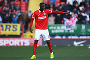 Charlton Athletic striker Yaya Sanogo during the Sky Bet Championship match between Charlton Athletic and Brighton and Hove Albion at The Valley, London, England on 23 April 2016. Photo by Bennett Dean.