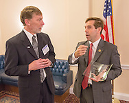 George Weiner, MD, left, speaks with Rep. Chuck Fleischmann (R-TN) during the Hill Day reception held at Rayburn House Office Building in Washington, DC, on Wednesday, May 11, 2016. The American Association for Cancer Research (AACR), the Association of American Cancer Institutes (AACI), and the American Society of Clinical Oncology (ASCO) honored U.S. Representatives Kathy Castor (D-Fla.) and Chuck Fleischmann (R-Tenn.) for their outstanding leadership on behalf of cancer research during the reception. (Alan Lessig/)