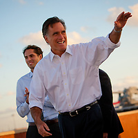 TAMPA, FL -- November 29, 2011 -- Republican Presidential candidate Gov. Mitt Romney arrives to speak at the Port of Tampa during a campaign stop in Tampa, Fla., on Tuesday, November 29, 2011.  (PHOTO / CHIP LITHERLAND)
