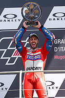 Ducati's Team rider Italian Andrea Dovizioso, winner  the Moto GP Grand Prix at the Mugello race track on June 4, 2017 and Claudio Dominicali celebrates on the podium. MotoGP Italy Grand Prix 2017 at Autodromo del Mugello, Florence, Italy on 4th June 2017. <br /> Photo by Danilo D'Auria.<br /> <br /> Danilo D'Auria/UK Sports Pics Ltd/Alterphotos