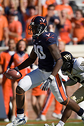 Virginia wide receiver Maurice Covington (80) scores Virginia's first touchdown of the game.  The #23 Virginia Cavaliers defeated the #24 Wake Forest Demon Deacons 17-16 at Scott Stadium in Charlottesville, VA on November 3, 2007.