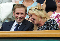 Tennis - 2017 Wimbledon Championships - Week One, Saturday [Day Six]<br /> <br /> Womens Singles - Third round<br /> Agnieszka Radwanska (POL) v Timea Bacsinszky (SUI) <br /> <br /> British Olympic Cyclists Jason and Laura (Trott) Kenny share a joke in the Royal Box on Centre court <br /> <br /> COLORSPORT/ANDREW COWIE