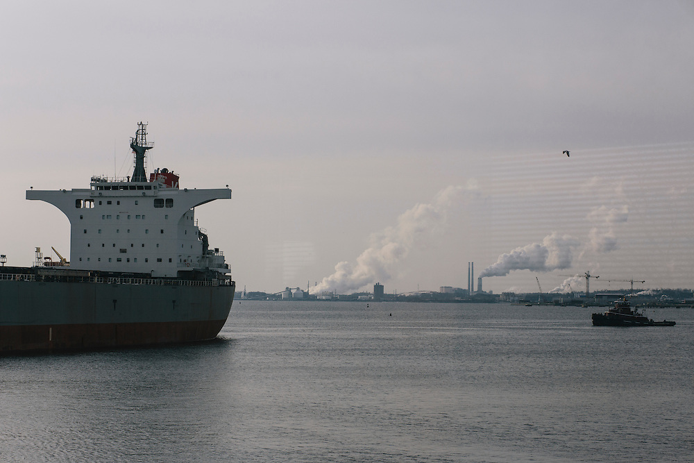 The Cape Aster, holding about 134,000 tons of coal leaves the Consol Energy CNX Marine Terminal in Baltimore, Md. on Thursday, March 6, 2014. The ship is on a more than 30 day trip to deliver the coal to South Korea.