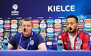 KIELCE, POLEN 2017-06-15<br /> Aidy Boothroyd och Lewis Baker under Englands U21 landslags press konferens p&aring; Kielce Arena den 15 juni 2017.<br /> Foto: Nils Petter Nilsson/Ombrello<br /> Fri anv&auml;ndning f&ouml;r kunder som k&ouml;pt U21-paketet.<br /> Annars Betalbild.<br /> ***BETALBILD***