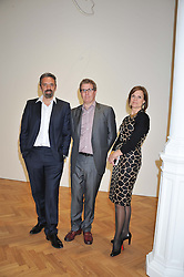 Left to right, KEITH TYSON, MARC GLIMCHER and POLLY ROBINSON at a Private View of 'Calder - After The War' at Pace London, Burlington Gardens, London on 18th April 2013.