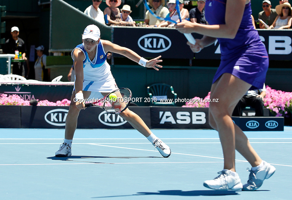 Maria Erakovic in action with doubles partner Sofia Arvidsson during their final doubles match against Kveta Peschke and Katarina Srebotnik at the WTA 2011 ASB Classic, ASB Tennis Centre, Auckland, New Zealand. Saturday 8 January 2011. Photo: Simon Watts/photosport.co.nz