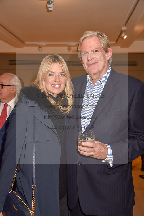 Isabella Branson and her father John Anstruther-Gough-Calthorpe at a private view of recent work by Georgiana Anstruther held at the Sladmore Gallery, 32 Bruton Place, London England. 08 November 2018. <br /> <br /> ***For fees please contact us prior to publication***