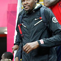 07 August 2012: USA Kevin Durant is seen courtside watching the 91-48 Team USA victory over Team Canada, during the women's basketball quarter-finals, at the Basketball Arena, in London, Great Britain.