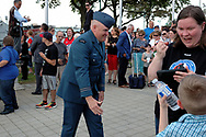 CANADA, Windsor. May, 2017. The Memorial Cup trophy arrives by ship to Windsor to start the Mastercard Memorial Cup Hockey Tournament. The trophy arrives at Dieppe Park to indigenous and military ceremonies. Later it advances its way down Ouellette Avenue to City Hall Cenotaph to a military remmberance ceremony.