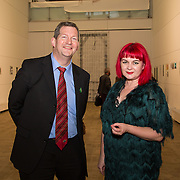 23.03.16<br /> LSAD are delighted to host SYMBOLS: Culture of Death and Cultural Life, a Creative Europe Project under the European Commission. <br /> <br /> Attending the exhibition were, Dr. Liam Browne, LIT and Dr. Tracy Fahey <br /> Head of Department of Fine Art, LSAD.<br /> <br /> LSAD are one of the seven partners in this Creative Europe project which is running from 2014-2016. This exhibition will feature work from international printmakers, dancers and musicians from 7 European countries. This show embraces not only the work created by these artists during two residencies responding to the theme of symbols, one in Aviles, Spain and one in Dundee Scotland and includes work by Limerick artists, musicians and dancers, Gemma Dardis, Mary O'Dea, Jennifer Brown and Hannah Fahey, but also offers a response by the students of the printmaking department in LSAD to the historic Limerick cemeteries of Mount St. Lawrence and St. John's. The students created an exciting and thought provoking body of work which is showing along side these international artists. Picture: Alan Place/Fusionshooters