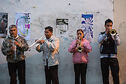 A band plays for a comparsas or parade during the Day of the Dead Festival known in Spanish as Día de Muertos on November 2, 2013 in Oaxaca, Mexico.