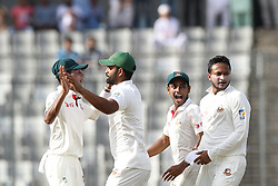 August 29, 2017 - Mirpur, Dhaka, Bangladesh - Bangladesh's Sakib Al Hasan, celebrate with his teammates after the dismissal of Australia's Usman Khawaja during day three of the First Test match between Bangladesh and Australia at Shere Bangla National Stadium on August 29, 2017 in Mirpur, Bangladesh. (Credit Image: © Ahmed Salahuddin/NurPhoto via ZUMA Press)