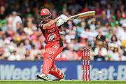 17th February 2019, Marvel Stadium, Melbourne, Australia; Australian Big Bash Cricket League Final, Melbourne Renegades versus Melbourne Stars; Dan Christian of the Melbourne Renegades pulls the ball down leg side