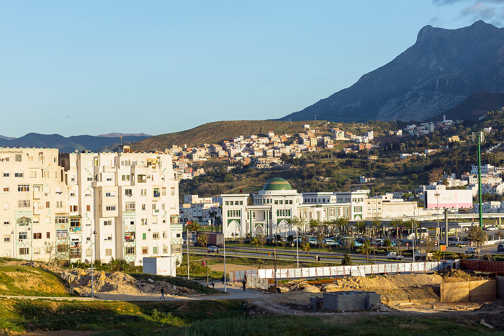 TETOUAN, MOROCCO - 5th April 2016 - Rif Mountain Landscape of Tetouan Medina and surrounding mountains with the centre of modern and contemporary art in view, Rif region of Northern Morocco.