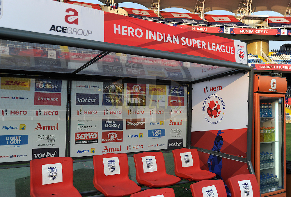 Dugouts and stickers during match 43 of the Indian Super League (ISL) season 2  between Chennaiyin FC and Kerala Blasters FC held at the Jawaharlal Nehru Stadium, Chennai, Tamil Nadu, India on the 21st November 2015.<br /> <br /> Photo by Pal Pillai / ISL/ SPORTZPICS
