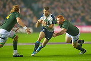 RG Snyman (#4) (Honda Heat, Japan) of South Africa and Steven Kitshoff (#1) (DHL Western Province) of South Africa tackle Tommy Seymour (#14) (Glasgow Warriors) of Scotland during the Autumn Test match between Scotland and South Africa at the BT Murrayfield Stadium, Edinburgh, Scotland on 17 November 2018.