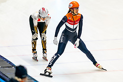 Suzanne Schulting in action on the 3000 meter relay during ISU World Cup Finals Shorttrack 2020 on February 15, 2020 in Optisport Sportboulevard Dordrecht.