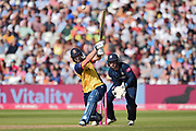 Tom Westley of Essex Eagles plays a lofted shot to the boundary during the Vitality T20 Finals Day 2019 match between Derbyshire Falcons and Essex Eagles at Edgbaston, Birmingham, United Kingdom on 21 September 2019.