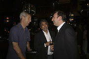 Geoff Mulligan, Sonny Mehta and Richard Cable, publication party for Bill Buford and his memoir HEAT. Hosted by Marco Pierre White at 'Frankie's. Knightsbridge. 10 July 2006. ONE TIME USE ONLY - DO NOT ARCHIVE  © Copyright Photograph by Dafydd Jones 66 Stockwell Park Rd. London SW9 0DA Tel 020 7733 0108 www.dafjones.com