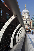 Views of the Millennium Bridge and St. Paul's Cathedral in the City of London
