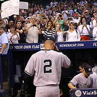 New York Yankees shortstop Derek Jeter (2) leaves the field via the Yankees dugout after a major league baseball game between the New York Yankees and the Tampa Bay Rays at Tropicana Field on Thursday, Sept. 17, 2014 in St. Petersburg, Florida. The Yankees won the game 3-2 and this was Jeter's last game against Tampa Bay. (AP Photo/Alex Menendez)