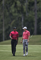 May 13, 2018 - Ponte Vedra Beach, Florida, U.S. - TIGER WOODS chats with JORDAN SPIETH while walking a fairway during the Players Championship 2018, at TPC Sawgrass. (Credit Image: © Bill Frakes via ZUMA Wire)