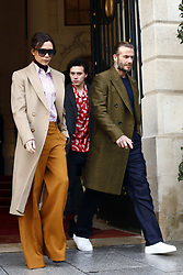 January 18, 2018 - Paris, Ile-de-France, France - Brooklyn Beckham, Victoria Beckham and David Beckham are seen leaving the Ritz hotel in Paris, France on January 18, 2018.  They go to  Louis Vuitton Menswear Fall/Winter 2018-2019 show as part of Paris Fashion Week. (Credit Image: © Mehdi Taamallah/NurPhoto via ZUMA Press)